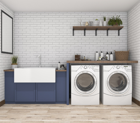 3d rendering washing machine in vintage laundry room Stok Fotoğraf - 68138266