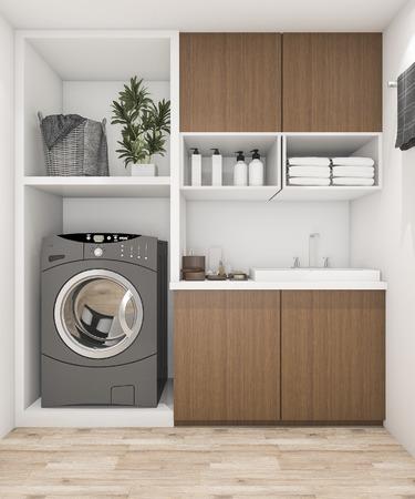 Salle de lavage en bois avec machine à laver