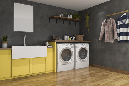 3d rendering yellow sink in laundry room with loft wall 스톡 콘텐츠