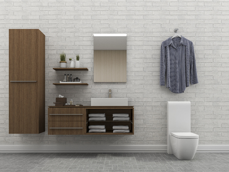 bathroom wall: 3d rendering bathroom with white wall and shirt