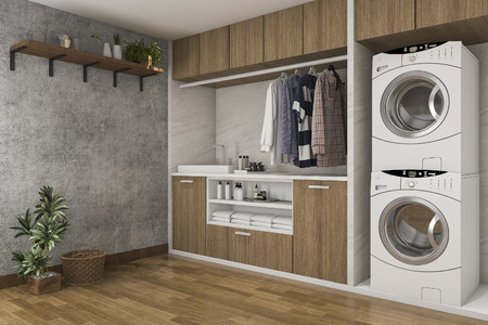3d rendering wood laundry room with concrete wall