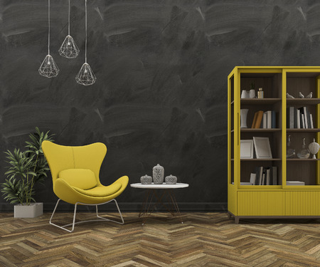 retro dark: 3d rendering loft wall with beautiful yellow armchair and furniture