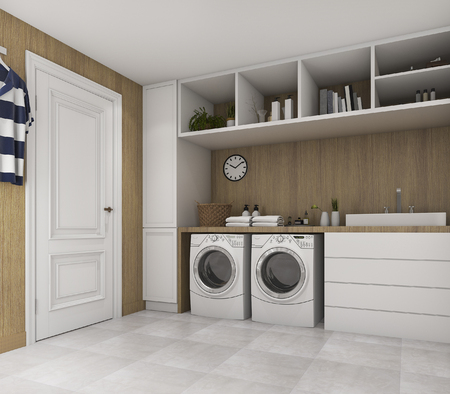 3d rendering wood laundry room with loft style 스톡 콘텐츠