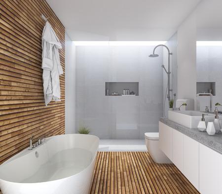 3d teruggevende houten moderne badkamers met aardig ontwerp Stockfoto