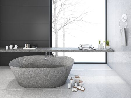 3d rendering loft minimal bathroom in winter