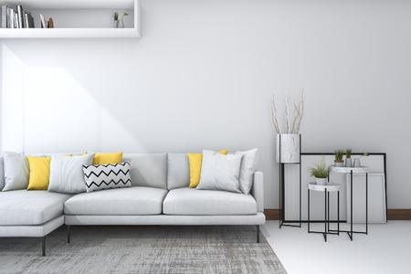 美しい装飾が施された白のリビング ルームで 3 d のレンダリングの黄色いソファ