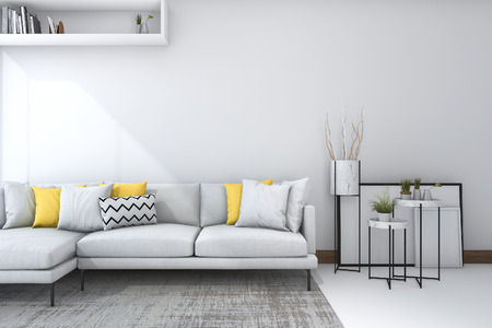 3d rendering yellow sofa in white living room with beautiful decor