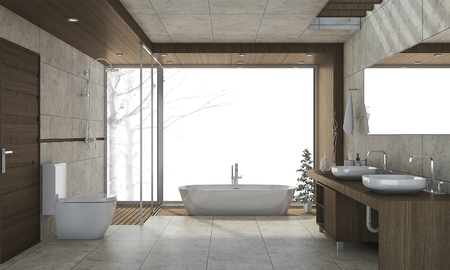 3d rendering nice design bathroom with white background