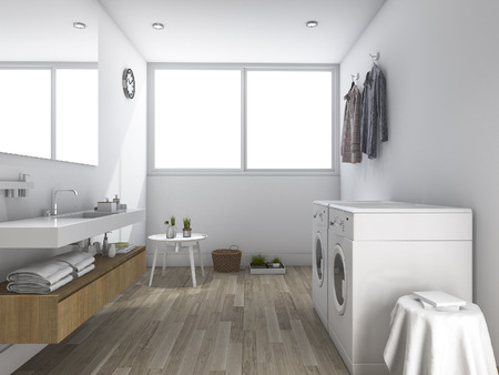 laundry room: 3d rendering white laundry room with minimal design