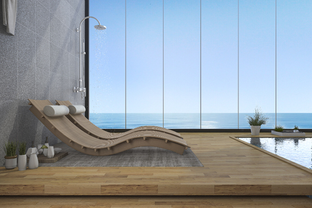 window bench: 3d rendering wood bed bench near pool and sea view from window Stock Photo