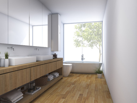 3d rendering wood clean bathroom with built in design