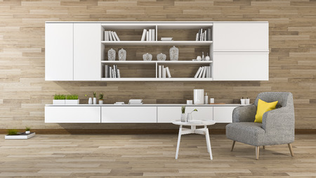 3d rendering vintage wood wall living room with shelf built in