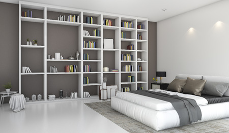 built in: 3d rendering contemporary colorful bedroom with built in bookshelf