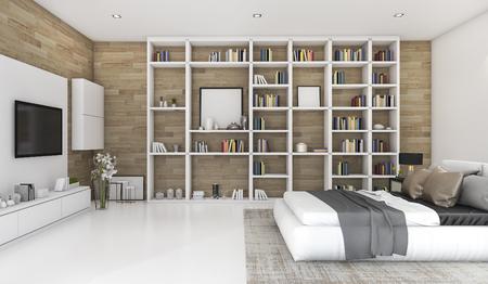 本棚に建てられた 3 d レンダリング現代木製の寝室で