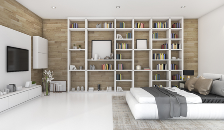 3d rendering contemporary wood bedroom with built in bookshelf 스톡 콘텐츠
