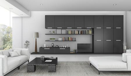 built in: 3d rendering black built in shelf and sofa bed in living room