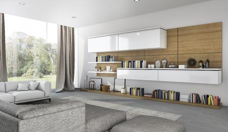 3d rendering beautiful soft sofa in living room near garden