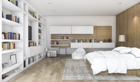 3d rendering wood contemporary bedroom with built in shelf