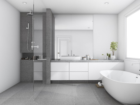 3d rendering luxury and modern style wood bathroom near window 스톡 콘텐츠
