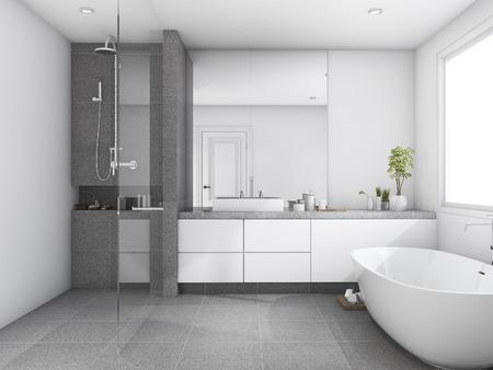 3D-rendering luxe en moderne stijl houten badkamer dichtbij venster Stockfoto