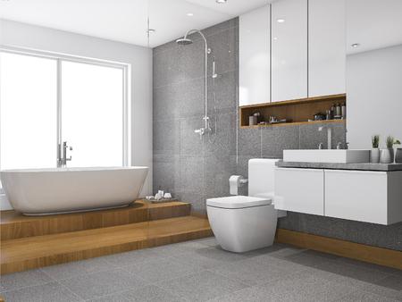 3 d レンダリング木ステップ浴室および洗面所の窓の近く 写真素材