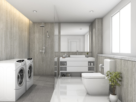 3d rendering white wood and stone tile toilet and laundry room