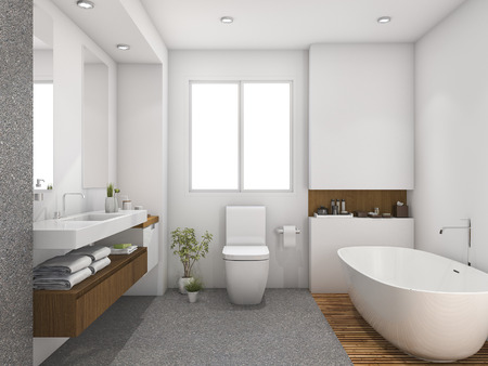 3d rendering legno e piastrelle design bagno vicino finestra