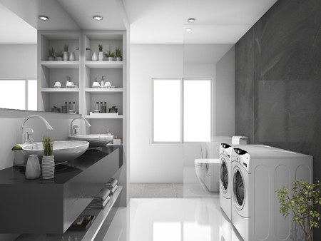 laundry room: 3d rendering modern black laundry room and toilet