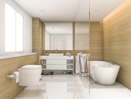 3d rendering beech wood and white minimal bathroom and toilet