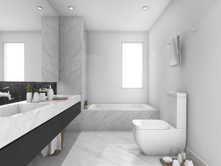 3d rendering white and black marble toilet and bathroom