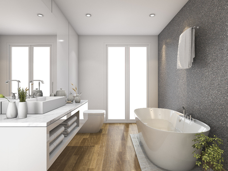 3d rendering wood bathroom and toilet with daylight from window
