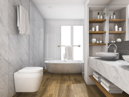 built in: 3d rendering wood and marble toilet and bathroom with built in
