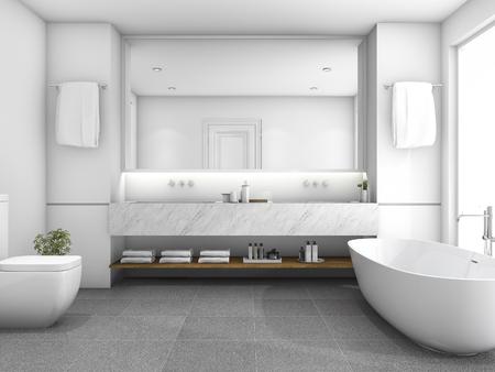 窓の近くの 3 d レンダリング ホワイト高級バスルーム