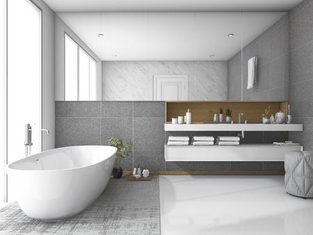 3d rendering white luxury bathroom