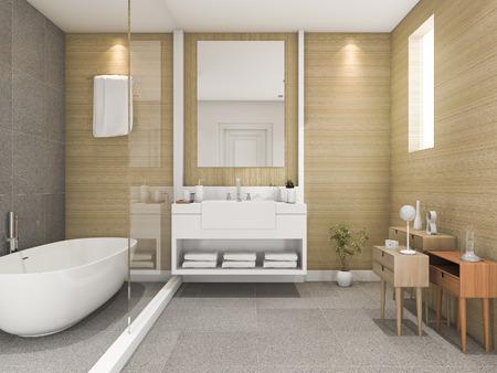 3d rendering beech wood bathroom with light from window