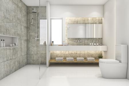 luxury bathroom: 3d rendering modern loft and luxury bathroom