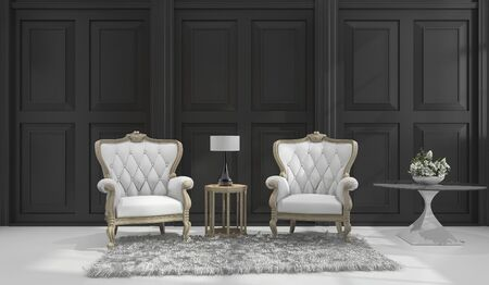 classic living room: 3d rendering classic armchair in black classic room Stock Photo