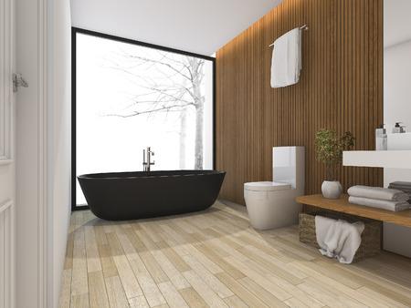3d rendering bagno di lusso vicino alla finestra con vasca