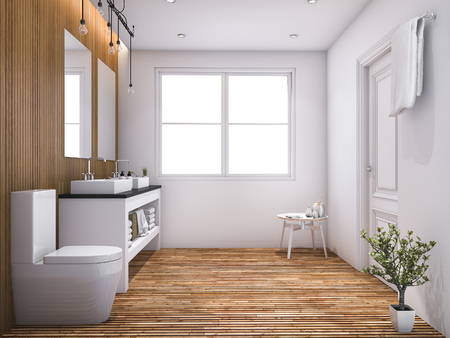 3d rendering contemporary wood toilet with light from window