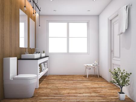 Zeitgenossische Holzerne Toilette Der Wiedergabe 3d Mit Licht Vom