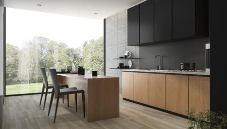 3d che rende cucina nera moderna con legno incorporato Archivio Fotografico - 71243906