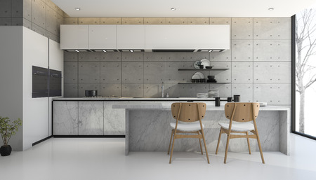 3d rendering loft and modern concrete kitchen Stok Fotoğraf
