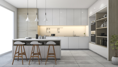 3d rendering white modern design kitchen with lamp Stok Fotoğraf