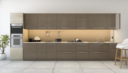 3d rendering nice wooden kitchen with modern decor
