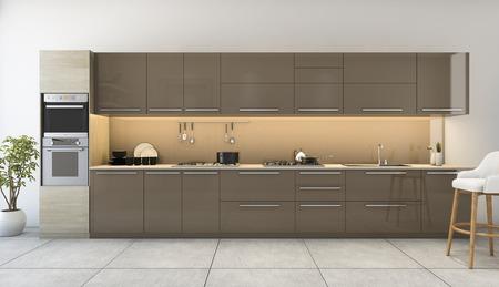 3D-weergave mooie houten keuken met moderne inrichting