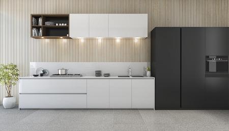 Comptoir de cuisine moderne de rendu 3d avec design blanc et noir Banque d'images