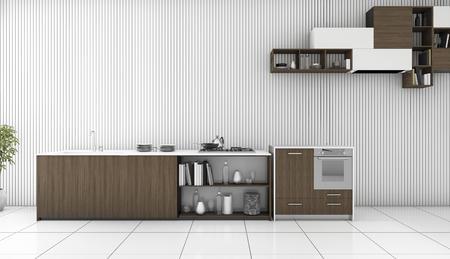 白い部屋の 3 d レンダリングの暗い木のカウンター キッチン