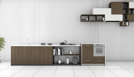 3d rendering dark wood counter kitchen in white room