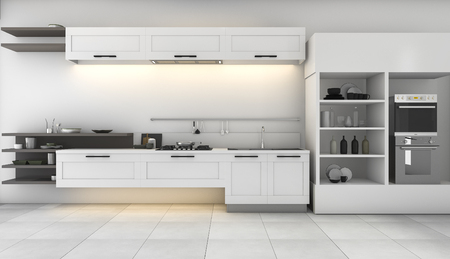 built in: 3d rendering white kitchen with nice design built in