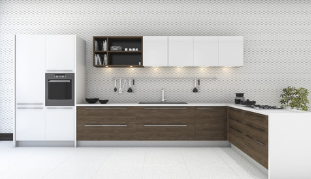 3d rendering wooden decor kitchen with nice wallpaper